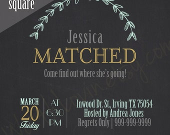 Match Day Party Invitation, Medical School, Medicine, Residency, Announcement