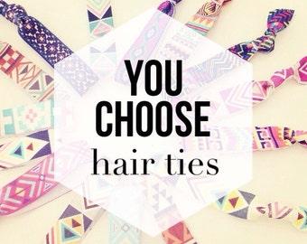 YOU CHOOSE Elastic Hair Ties for Baby, Toddler, Kids + Adults // Design Your Own Custom Hair Tie Set, Creaseless Hair Tie Bracelets