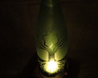 Recycled Wine Bottle Candle Shade Tree of  Life Etched Glass