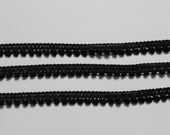 1 yard black mini pom pom trim - blackl trim -black sewing notion - black pom pom trim