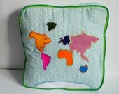 Children's Embroidered World Map Pillow