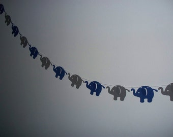 Elephant Garland - Navy Blue and Dark Grey Cardstock Paper Baby Shower Decor - Wall Decoration - 4 5 8 or 10 foot