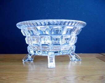 1940s Glass Bowl Vintage Glass Bowl Art Deco Glass Bowl