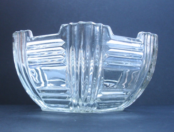 1940s Glass Bowl Vintage Glass Bowl Art Deco Glass Bowl