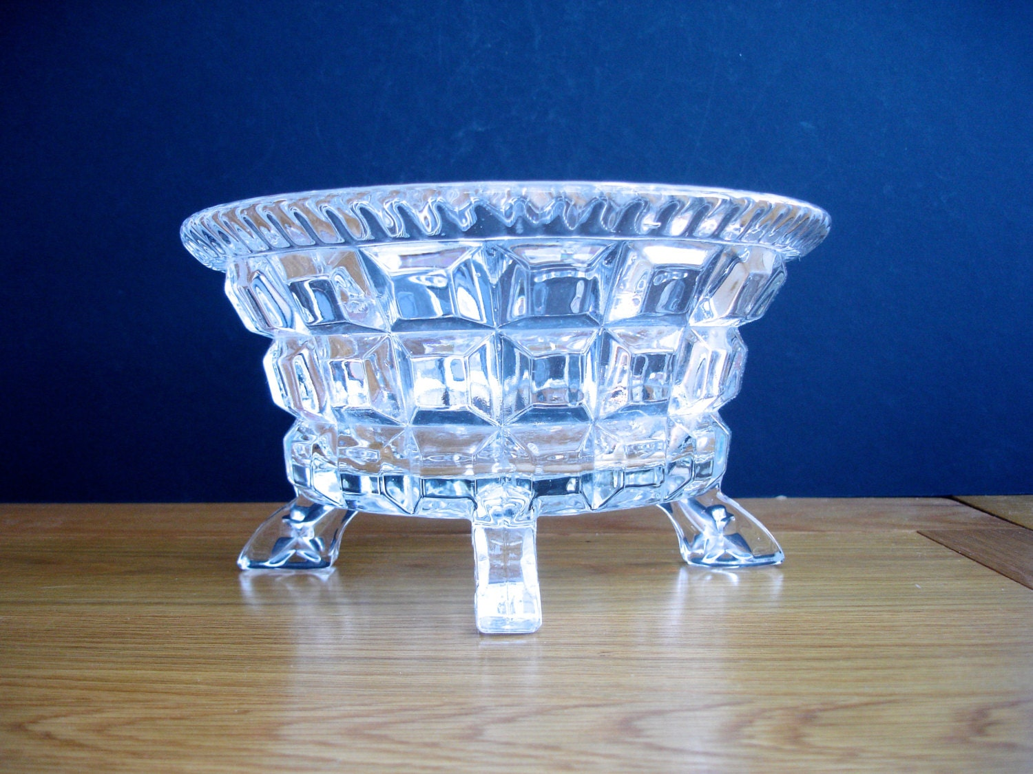 1940s glass bowl vintage glass bowl deco glass bowl