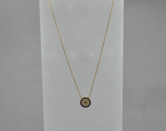 Gold Plated Sterling Silver Evil Eye Necklace. Delicate Bracelet. Birthday Gift. Gold Necklace.