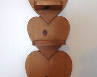 Wood Heart Wall Shelf Country Cottage  Home Decor Circa 1980's