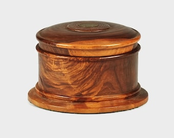 Vintage Turned Lignum Vitae Wood Cylindrical Box with Jamaican Farthing Coin Accent