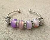 Agate Cuff Bracelet, OOAK, Beaded Bracelet, Silver plated, Gemstone, Gemstone Jewelry, Purple Bracelet