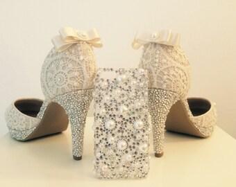 Bespoke sparkly wedding shoes