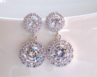 Wedding Jewelry, Silver, Cubic Zirconia, Bridal Jewelry, Bridal Earrings, Bride Earrings, Bridesmaid Earrings, Dangle, Bridesmaids Gifts