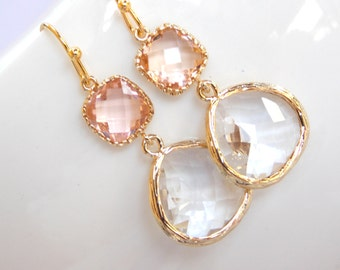 Wedding Jewelry , Crystal and Peach Earrings, Gold, Peach, Clear,Blush,Bridesmaid Earrings,Bridesmaid Gifts, Bridesmaid Jewelry,Dangle, Drop