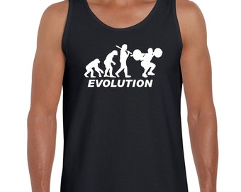 Men's Vest Top Evolution of a Weight Lifter Body Builder Gym Sizes S to 2xl