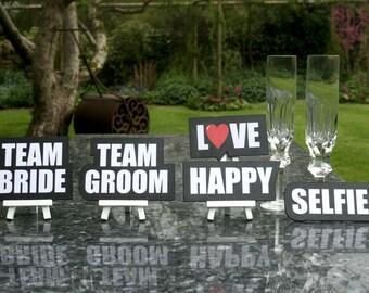 Selfie Signs Team Bride Team Groom Set of 5 Signs 013-313