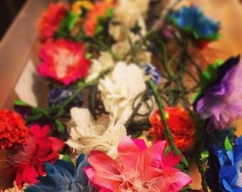 Fabric Dahlia Blooms
