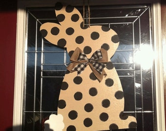 Polka Dot Bunny Rabbit Wood Door Hanger