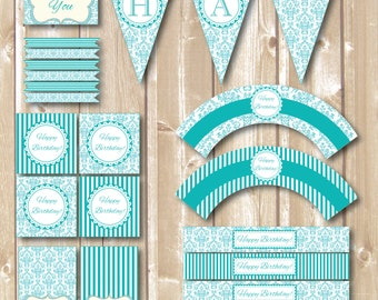 Birthday Party Teal package. Blue Printables. White Blue . Teal Birthday printables.
