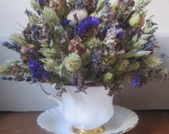 Tea Cup Dried Flower Arrangement. Perfect as a Gift, Cake Topper or Wedding Decoration