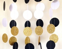Great Gatsby Themed Wedding Garland,Paper Garland Black White Gold Bridal Shower, Baby Shower, Birthday Party, Party Decor, Gold Glitter