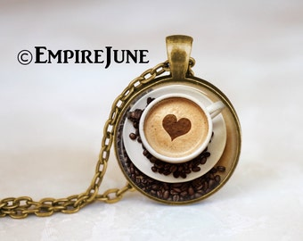 FREE SHIPPING Cappuccino Heart Coffee Necklace, Coffee Jewelry, Antique Bronze Heart Necklace, Coffee Lover, Hot Chocolate Art Print Necklac