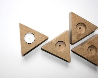 Geometric tealight holder / gift / oakwood / wood / minimal
