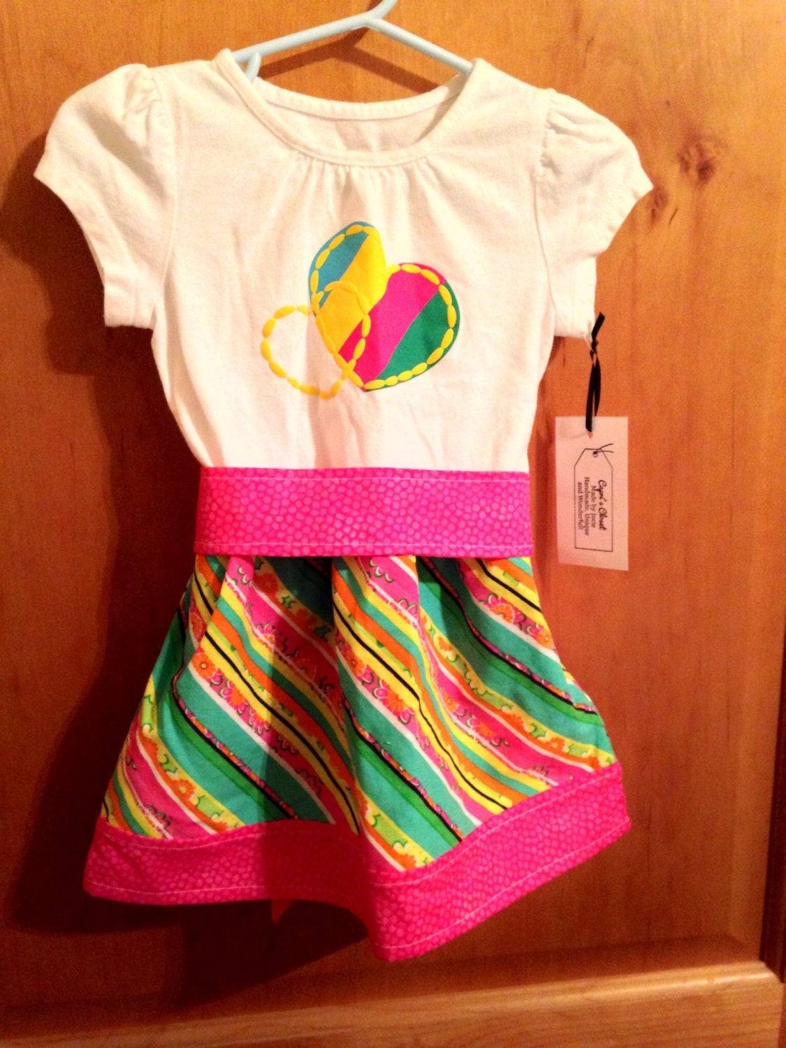 Bright stripes upcycle t shirt dress size 24 months pink for Bright green t shirt dress