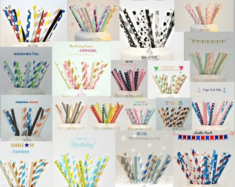 25 Piece Paper Straws Vintage Pretty Navy Blue Striped Color Supplies Baby Shower Birthday Party Wedding Bridal Shower Drinking Straws