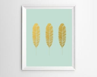 Feather Art, Wall Art, Feather Poster, Feather Wall Art, Prints, Gold Foil, Mint Green Decor, Wall Art Print, Feather Decor, Feather Print
