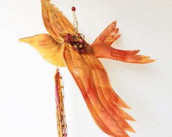 Soft Sculpture Bird, Celestial Flyer, Flying Bird mobile ornament, bird sculpture, OOAK Fiber Art , Spiritual Bird  Art, Golden Batik #1