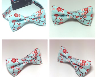 Mens light blue and red cherry blossom bow tie