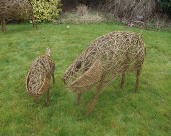 Handcrafted  Willow Woven Pig & Piglet. Ideal for any garden or patio