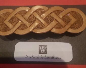 Handmade leather hair barrette