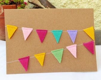 Handcrafted Felt 'Bunting' Greetings Card