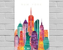 New York Print, New York art print, printable wall art. Travel city poster, wall decor, New York digital print. INSTANT DOWNLOAD.