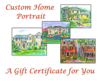 Gift Card Certificate for Custom Home Portrait.  Matted Painting with 12 Custom Note Cards