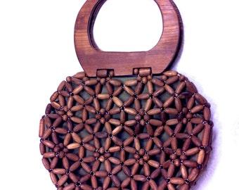 "Vintage Brown Wood Bead Handbag Purse with Wood Handle (9""x10"")"