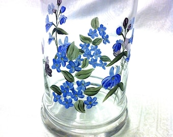 "Vtg Rare Hand Painted Blue Purple Floral (7x4"")  Glass Vase Container"