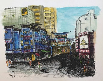 Chinatown Yokohama Japan Painting by J. Travis Duncan - Mixed Media (watercolor and pen & ink) - Asia Painting - 9x12 Painting - panoplei