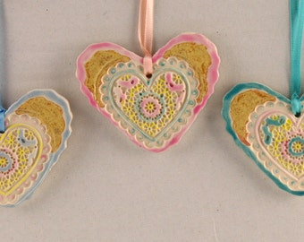 Baby Heart, Valentine Ornament by Karlene Voepel, Ceramics.  Sold individually.