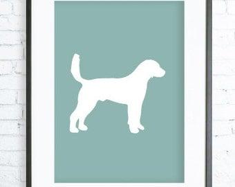 Mint Printable Dog Art Print, Dog Lovers Gift, Mint Pointer Silhouette Print, digital art, DOG print, Dog Art