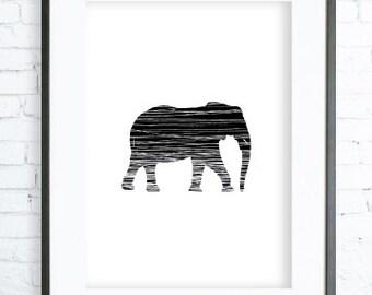 Black Elephant Print, Instant Download Printable, Elephant Print Art, digital art, Print,Black and White, Elephant art, Elephant print