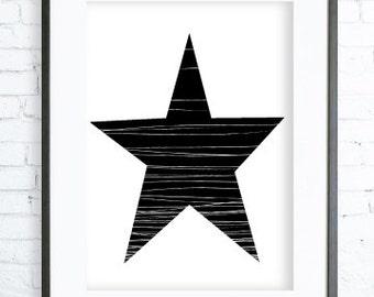 Home Decor, Black Star, Geometric Print Art , Geometric Print, Instant download printable, Black Star ART, digital print, printable wall art