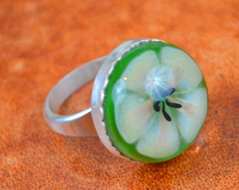 Silver Ring with Hand-blown Floral Cabochon