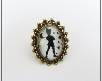 ring peter pan never grow up cabochon glass Adjustable ring
