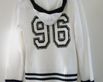 College Cricket Pullover with Hood, V-Neck white Sweater 10