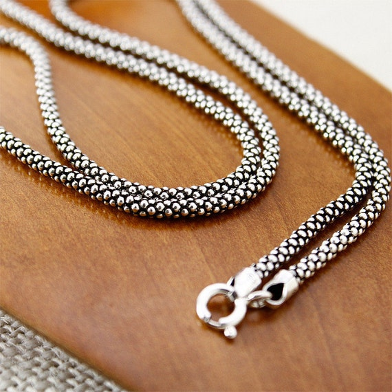 sterling silver popcorn chain necklace sterling popcorn chain popcorn necklace 925 silver popcorn chain necklace 25mm 18 20 22 24 26 28 from