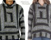 Mexican Threads Unisex Baja Hoodie Drug Rug Pullover Sweatshirt / Gypsy Jacket | Hippie Poncho | Charcoal/Lime  S-XXL