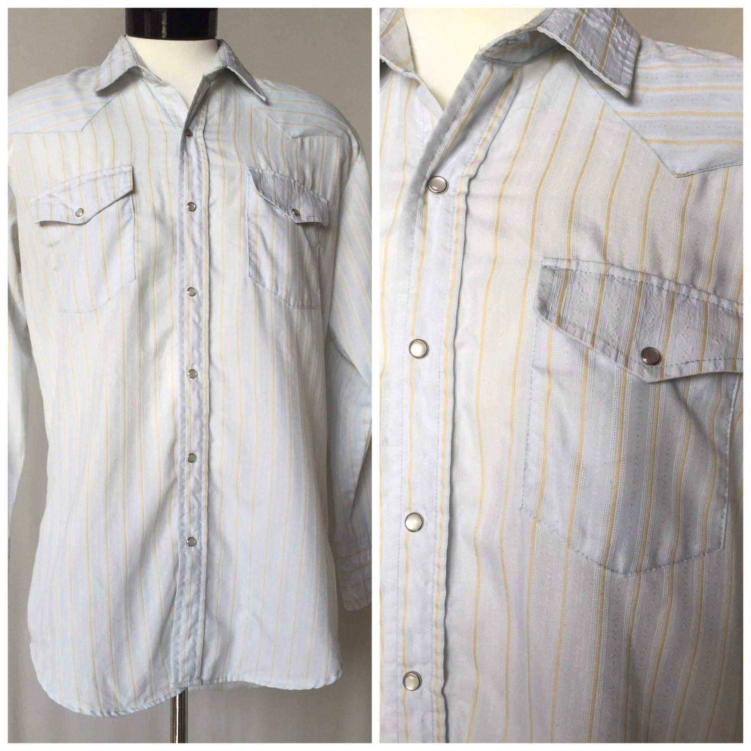 Mens light blue and gold pinstripe vintage western pearl snap for Light blue pinstripe shirt