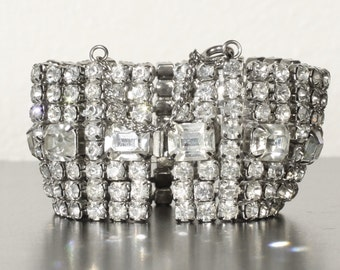 Vintage Estate 1950's Wide Glamorous Rhinestone Crystal Bracelet for Black Tie Affairs, 1.25 inch wide x 7 inches