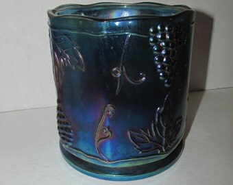 Vintage Indiana Glass Blue Green Iridescent Carnival Glass Jar or Canister Container